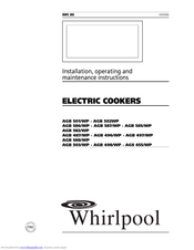 Whirlpool AGB 501 Installation, Operating And Maintenance Instructions