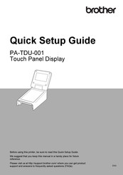 Brother PA-TDU-001 Quick Setup Manual