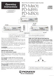 Pioneer PD-M601 Operating Instructions Manual