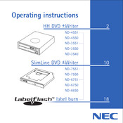 NEC ND-4550 Operating Instructions Manual