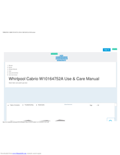 Whirlpool cabrio W10164751A Use & Care Manual