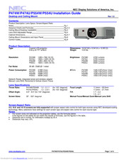 NEC P554U Installation Manual