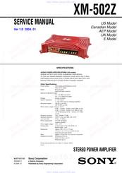 Sony Xm 502z Service Manual Pdf Download Manualslib
