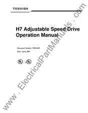 Toshiba Adjustable Speed Drive H7 Series Operation Manuals