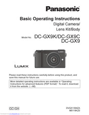 Panasonic LUMIX DC-GX9C Basic Operating Instructions Manual