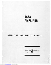 HP 465A Operating And Service Manual