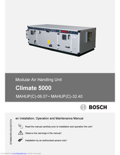 Bosch Climate 5000 Installation, Operation And Maintenance Manual
