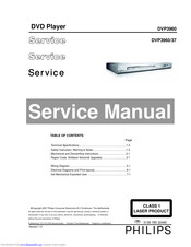 Philips DVP3960/37 Service Manual