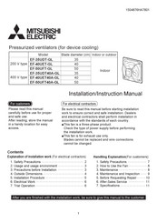 Mitsubishi Electric EF-40UET-GL Installation Instructions Manual