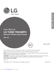 LG TONE TRIUMPH HBS-510 User Manual