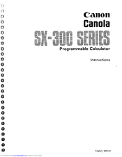 CANON Canola SX-300 series Instructions Manual