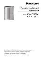 Panasonic KX-HT824 Programming Item List