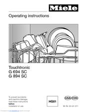 Operating instructions novotronic g 841 plus g 841 sc plus miele. Ca.