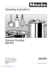 Miele CERAMIC COOKTOP KM 452 Operating Instructions Manual