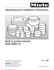 Miele ESS 3060-10 Operating And Installation Instructions