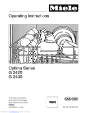 miele optima series g 2420 operating instructions manual pdf download rh manualslib com miele optima dishwasher owners manual miele optima series dishwasher manual