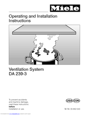 Miele DA 239-3 Operating And Installation Instructions