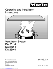 Miele DA 259-4 Operating And Installation Instructions