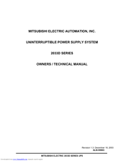 Mitsubishi Electric 2033D SERIES Owner Technical Manual