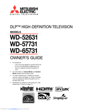 Mitsubishi Electric DLP WD-65731 Owner's Manual