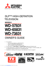 Mitsubishi Electric DLP WD-57831 Owner's Manual