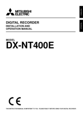 Mitsubishi Electric DX-NT400E Installation And Operation Manual