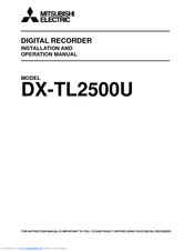 Mitsubishi Electric DX-TL2500U Installation And Operation Manual