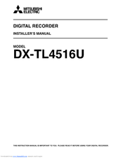 Mitsubishi Electric DX-TL4516U series Installer Manual