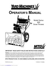 mtd 800 series manuals rh manualslib com mtd yard machine manual download mtd yard machine owners manual