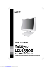 NEC NEC MultiSync LCD1550X  LCD1550X LCD1550X User Manual