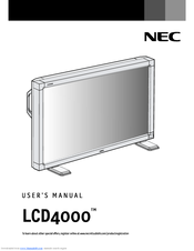 NEC AccuSync LCD4000 User Manual