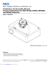NEC NP600CM Installation And Assembly Manual