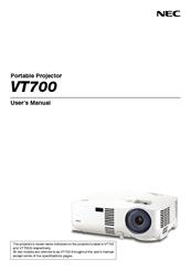 nec vt700 manuals rh manualslib com NEC VT700 Specs Ceiling Plate for NEC Projector