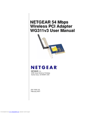 Netgear WG311v3 - 54 Mbps Wireless PCI Adapter Manuals