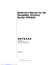 NETGEAR RANGEMAX WPN824 REFERENCE MANUAL Pdf Download