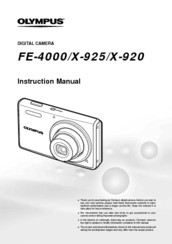 Olympus FE-4000, X-925, X-920 Instruction Manual