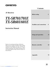 onkyo tx sr601 manuals rh manualslib com onkyo tx-sr601 specs Onkyo TX SR601 Receiver