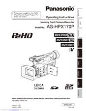 Panasonic AG HPX170 - Pro 3CCD P2 High-Definition Camcorder Operating Instructions Manual