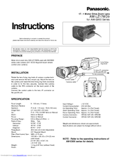 Panasonic AWE800 - COLOR CAMERA Instructions