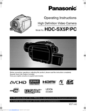 Panasonic HDCSX5P - HD VIDEO CAMERA Operating Instructions Manual