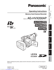 Panasonic AG HVX200 - Camcorder Operating Instructions Manual