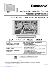 panasonic pt 50lc14 50 rear projection tv manuals rh manualslib com 58 Panasonic Rear Projection TV Sony 52 Inch Projection TV