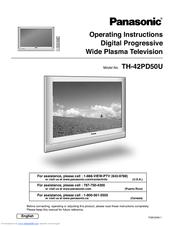 PANASONIC TH 42PD50U OPERATING INSTRUCTIONS MANUAL Pdf Download.