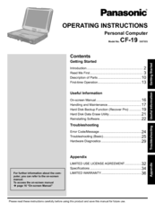 Panasonic Toughbook CF-19CHBAXBM Operating Instructions Manual