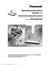 Panasonic BB-HGW700A - Network Camera Router Operating Instructions Manual