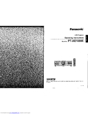 Panasonic PT-AE1000 Operating Instructions Manual