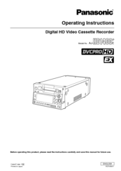 Panasonic AJHD1400P - DVCPRO HD VTR Operating Instructions Manual