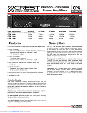 Crest Audio CPX2600 Product Manual