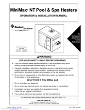 Pentair Pool Products MiniMax NT 250 Operation & Installation Manual