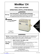 Pentair Pool Products MiniMax CH 400 Operation & Installation Manual